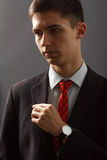 Портрет молодого человека в костюме держа его руку на его комоде Стоковое фото RF