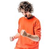 Портрет молодого человека сильный кричащий счастливый Стоковая Фотография RF