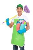 Портрет молодого человека с оборудованием чистки Стоковые Изображения RF
