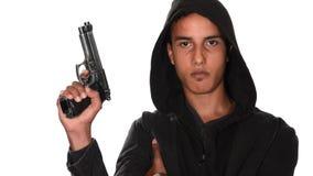 Портрет молодого человека с пушкой видеоматериал
