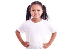 Портрет молодой азиатской девушки изолированной на белизне Стоковые Изображения