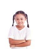 Портрет молодой азиатской девушки изолированной на белизне Стоковое Изображение RF