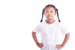 Портрет молодой азиатской девушки изолированной на белизне Стоковая Фотография