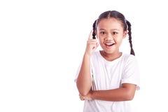 Портрет молодой азиатской девушки изолированной на белизне Стоковое фото RF