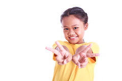 Портрет молодой азиатской девушки изолированной на белизне Стоковые Фотографии RF