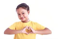 Портрет молодой азиатской девушки изолированной на белизне Стоковая Фотография RF