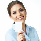 Портрет молодой бизнес-леди на белой предпосылке Стоковая Фотография RF