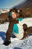Портрет молодой девушки snowboarder Стоковое Изображение