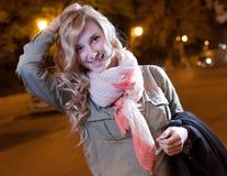 Портрет молодой женской коммерсантки в ноче Стоковые Фото