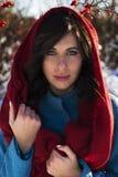 Портрет молодой женщины брюнет одел в красном шарфе и голубом пальто Стоковое Фото