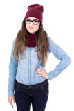 Портрет молодой женщины в зиме одевает представлять изолированной на whi Стоковое Фото