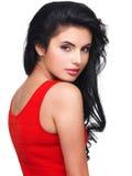 Портрет молодой женщины в красном платье Стоковое Изображение RF