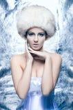 Портрет молодой женщины в одеждах зимы Стоковые Изображения