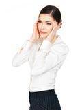 Женщина в стеклах с головной болью сжумает виски Стоковое Изображение RF