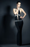 Портрет молодой женщины в шикарных платьях вечера Стоковые Изображения