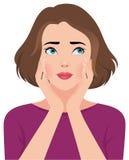 Портрет молодой женщины или девушки осадки несчастных Стоковое Изображение RF
