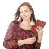 Портрет молодой женщины красоты при изолированная сумка Стоковые Изображения RF