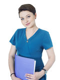 Портрет молодой женщины доктора изолированной на белой предпосылке Стоковое Фото