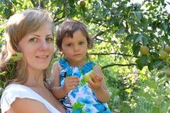 Портрет молодой женщины с ребенком о грушевом дерев дереве Стоковые Фотографии RF