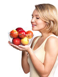 Портрет молодой женщины с яблоками. Стоковые Изображения RF