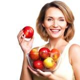 Портрет молодой женщины с яблоками Стоковое фото RF