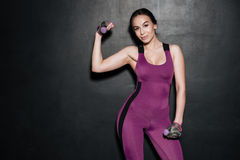 Портрет молодой женщины фитнеса делая тренировки с гантелями Стоковые Изображения RF