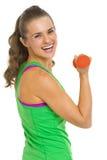Портрет молодой женщины фитнеса с гантелями Стоковое Изображение
