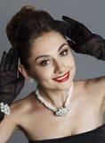 Портрет молодой женщины любит известная актриса Стоковые Изображения