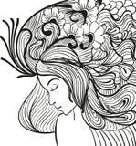 Портрет молодой женщины Doodle Стоковые Фотографии RF