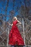 Портрет молодой красивой женщины в длинном красном платье Стоковые Изображения