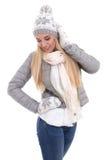 Портрет молодой красивой женщины в одеждах зимы изолированных дальше Стоковое Изображение