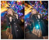 Портрет молодой красивой женщины с длинными справедливыми волосами внешними в холодном вечере зимы красивейшие белокурые одежды о Стоковое фото RF