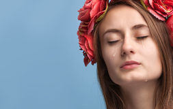 Портрет молодой красивый плакать женщины Стоковая Фотография RF
