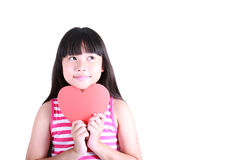 Портрет молодой милой девушки с красным сердцем Стоковое фото RF