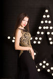 Портрет молодой привлекательной женщины, моды download предпосылки рисуя готовый вектор звезды Стоковое фото RF