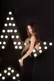 Портрет молодой привлекательной женщины, моды download предпосылки рисуя готовый вектор звезды Стоковое Изображение RF