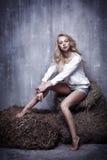 Портрет молодой сексуальной девушки сидя на сене, на textura Стоковые Изображения