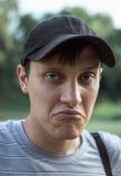 Портрет молодой сини наблюдал люди в парке Стоковое Изображение