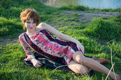 Портрет молодой супоросой девушки Стоковые Изображения RF