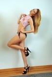 Портрет молодой славянской модели с минимальный представлять состава сексуальный на естественном свете студии стоковые изображения rf