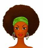 Портрет молодой чернокожей женщины на белизне, модели моды бесплатная иллюстрация
