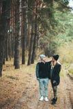 Портрет молодых пар в влюбленности идя в красивый лес наслаждаясь обнимать и усмехаться Чувства, единение, приятельство, стоковая фотография rf