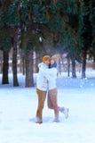Портрет молодых пар усмехаясь и смотря в камеру в wint Стоковая Фотография RF