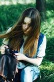 Портрет моды лета дамы очарования чувственной молодой стильной мы Стоковое фото RF