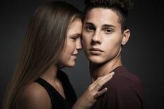 Портрет моды молодых красивых пар Стоковое фото RF