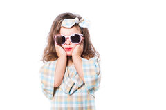 Портрет моды ребенка девушки Солнцезащитные очки Стоковое Фото