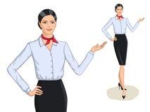 Портрет моды стиля дела и полнометражное молодой женщины Стоковое фото RF
