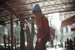 Портрет моды улицы маленькой девочки Стоковое Фото