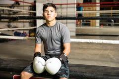Портрет мужского боксера в спортзале Стоковые Фотографии RF
