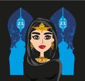 Портрет мусульманской красивой девушки в hijab бесплатная иллюстрация